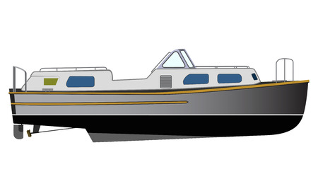 cruising: Vector flat design narrowboat. Narrow canals boat water transport illustration. River barge based leisure and recreation cruising transport narrow boat. River houseboat
