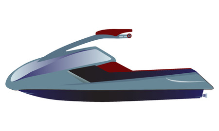 passanger: Water scooter, sporty small Jet Ski on white background, vector illustration