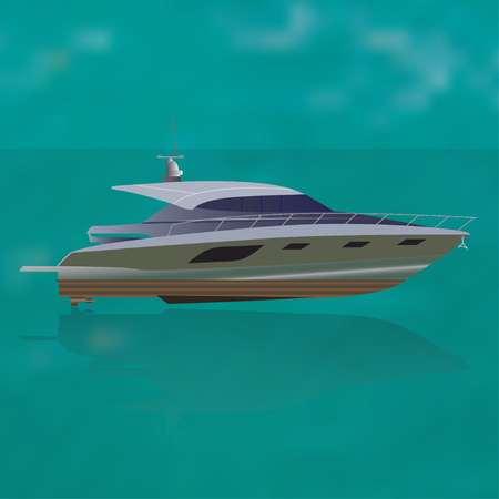 pleasure craft: Luxure private motor yacht out at sea, vector illustration