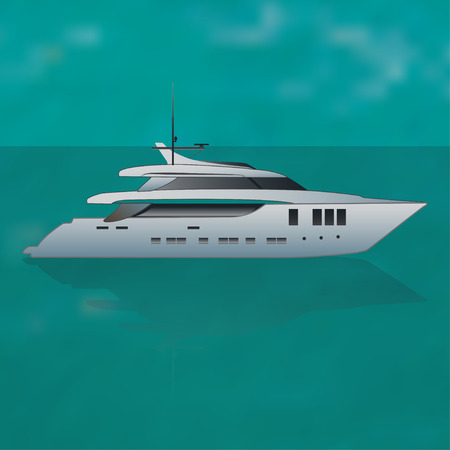 snorkelling: Luxure private motor yacht out at sea, vector illustration