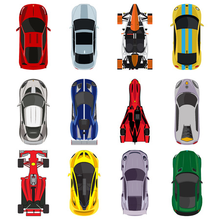 dragster: Sport and racing cars top view icons set isolated vector illustration