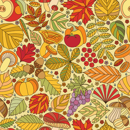 fall harvest: Seamless pattern with tree leaves, mushrooms and vegetables. Various elements for design. Cartoon vector illustration. Colorful autumn background