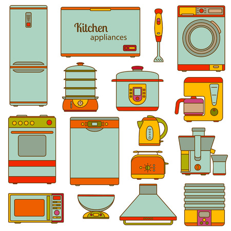 double boiler: Set of line icons. Kitchen appliances icons set. Vector illustration.
