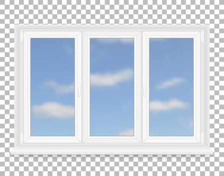 window pane: Realistic white plastic window with sky view. Vector illustration.