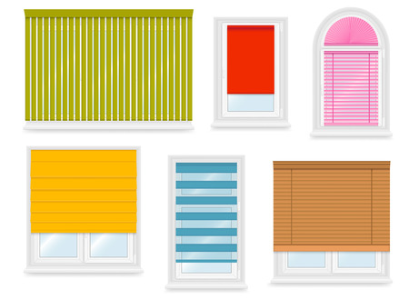 sill: Realistic white plastic windows set with different blinds. Vector illustration.