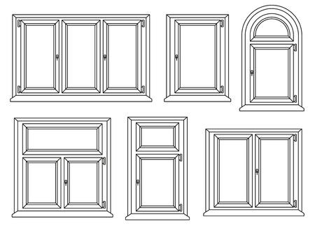 window pane: Plastic windows icons set. Vector illustration.