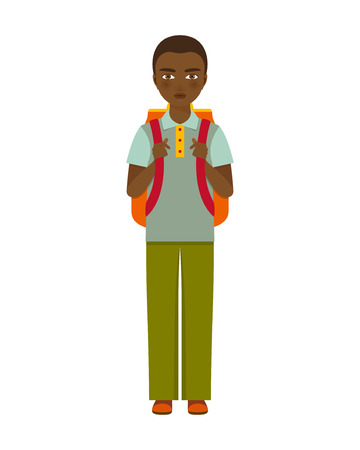 pre adolescent child: School boy character. Vector illustration.