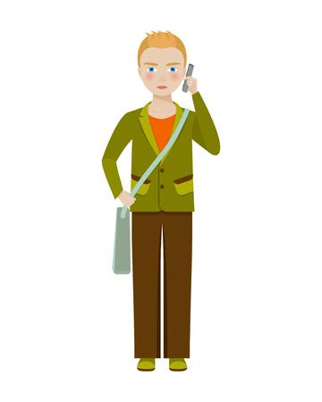 School boy character. Vector illustration.