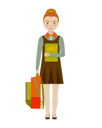 pre adolescent child: School girl character. Vector illustration.