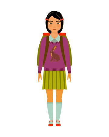 pre teen: School girl character. Vector illustration.