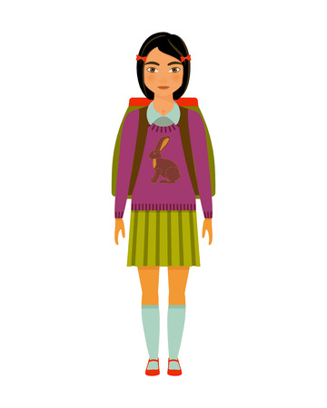 School girl character. Vector illustration.