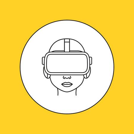 interactivity: Virtual reality line icon. Vector illustration Illustration