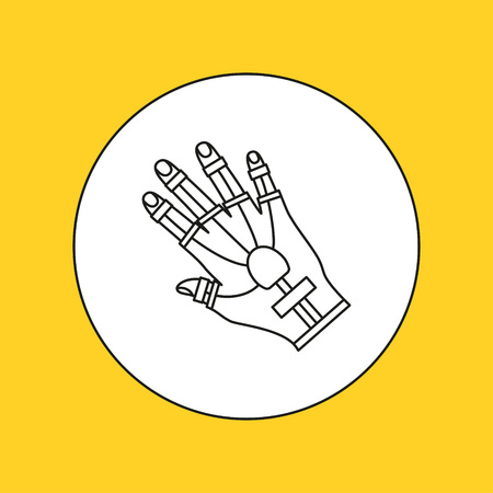 interactivity: Wired gloves line icon. Vector illustration.