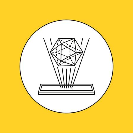 interactivity: Hologram line icon. Vector illustration. Illustration