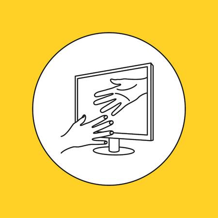 interactivity: 3D display line icon. Vector illustration.