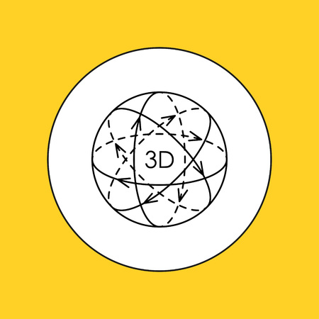 interactivity: 3D video conceptual line icon. Vector illustration.