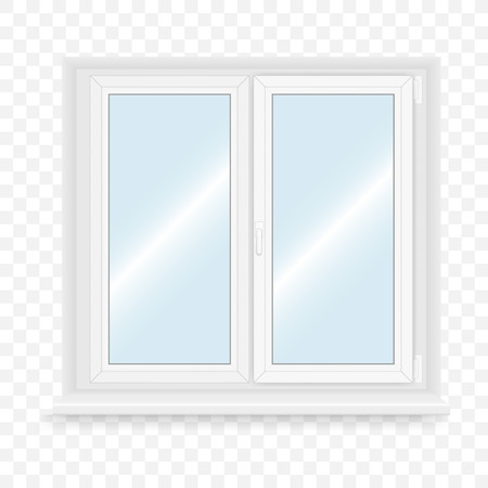 window sill: Realistic white plastic window. Vector illustration. Illustration