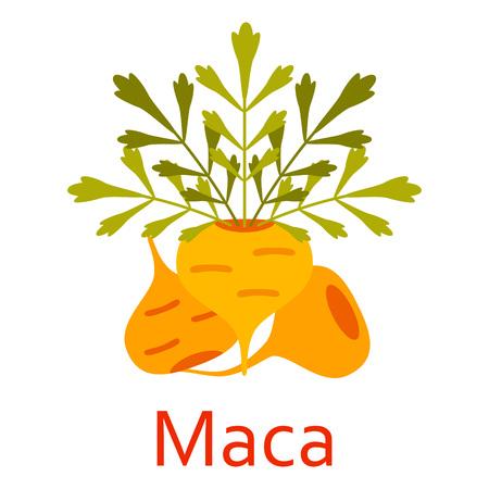 スーパー食品アイコン。マカ。ベクトルの図。