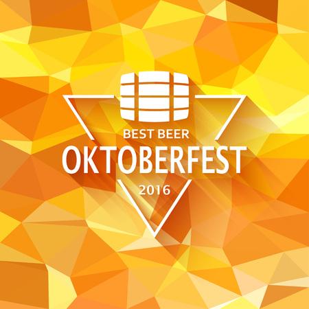 Oktoberfest triangle label on triangular background. Vector illustration.