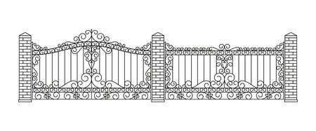 Geschmiedete Tore und Zäune gesetzt. Geradliniges Design. Vektor Umriss Illustration isoliert auf weiß.