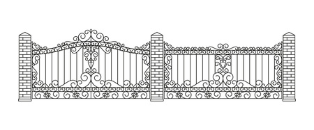 forged: Forged gates and fences set. Linear design. Vector outline illustration isolated on white.