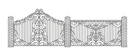swirl border: Forged gates and fences set. Linear design. Vector outline illustration isolated on white.
