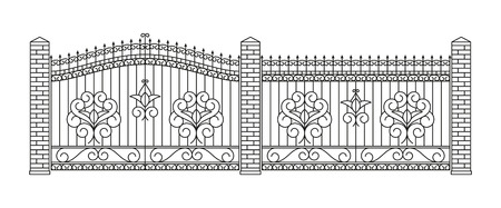 cast iron: Forged gates and fences set. Linear design. Vector outline illustration isolated on white.