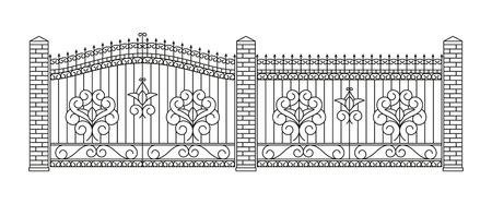 puertas y cercas forjadas conjunto. El diseño lineal. Ilustración del esquema del vector aislado en blanco.