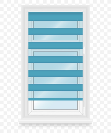 sill: Realistic white plastic windows set with blind. Vector illustration.