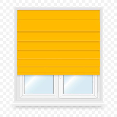 pane: Realistic white plastic windows set with blind. Vector illustration.
