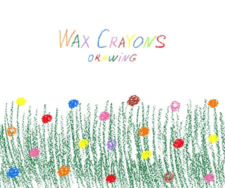 Wax crayon green grass with flowers. Vector illustration. Illustration