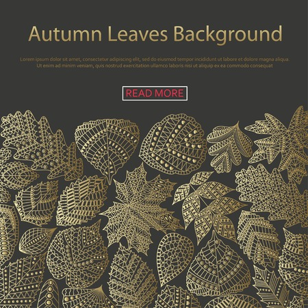 linden tree: Background with different tree leaves such as oak and maple, chestnut and birch, aspen and linden, poplar and ginkgo, tulip tree and sassafras, beech, hornbeam, holly. Autumn collection. Illustration