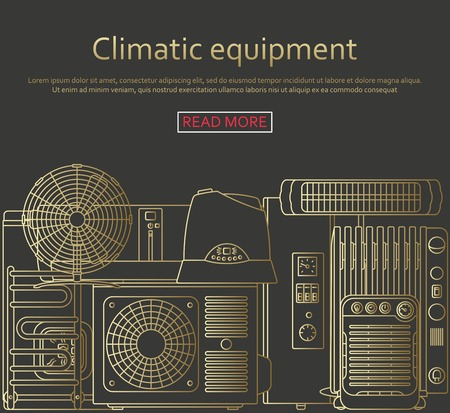 climatic: Climatic equipment concept made of outlined icons. Illustration