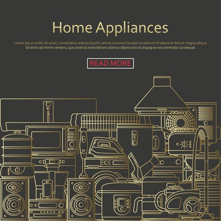 outlined: Home appliances concept made of outlined icons. Illustration