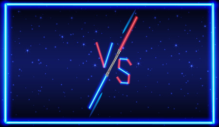 versus: Blue and red Neon Versus . VS Letters Illustration. Competition Icon. Fight Symbol.