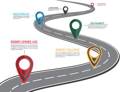 Carte routière de rue, infographie d'affaires avec pointeur de broche coloré, illustration