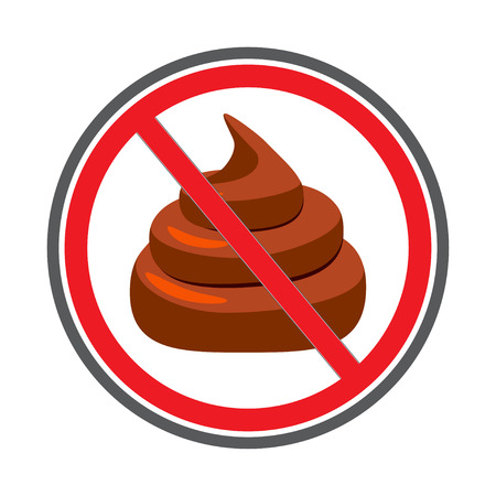 shit: No Shit sign icon, no poo. Clean up after pets symbol. No pooping sign.  illustration