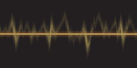 Sound waves oscillating glow, gold light. Abstract technology background, music background, illustration Illustration