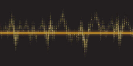 Sound waves oscillating glow, gold light. Abstract technology background, music background, illustration
