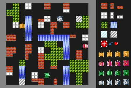 ice brick: Retro video game. User interface with tanks, terrain and obstacles. illustration