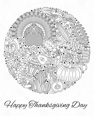 感謝祭の日のグリーティング カード。デザインの様々 な要素に。漫画イラスト。丸い形。