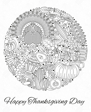 Thanksgiving day greeting card. Various elements for design. Cartoon illustration. Round shape. Vettoriali