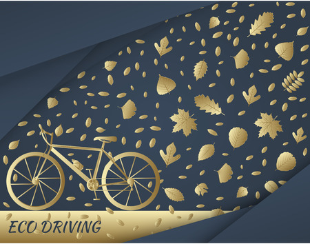 trail bike: Eco driving concept in golden colors. Bike and trail of tree leaves. illustration Illustration