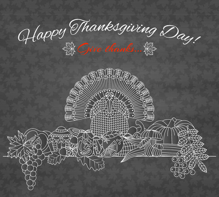 Thanksgiving day greeting card. Various elements for design. Cartoon illustration. Holiday background.