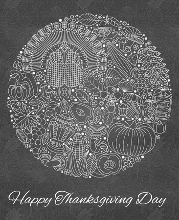 corne: Thanksgiving day greeting card. Various elements for design. Cartoon illustration. Round shape. Illustration
