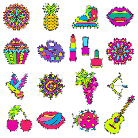 patches: Set of fashionable cute patches elements. illustration