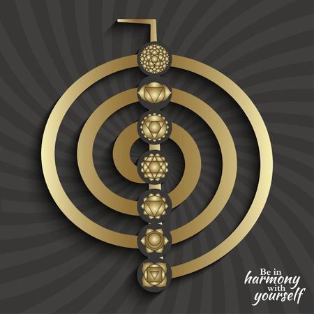 pittogrammi Chakra sul simbolo choku rei. Set di simboli usati in induismo, buddismo e Ayurveda. Elementi per la progettazione.