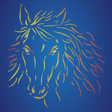 La Tête Du Cheval Sur Un Fond Bleu Pixel Art Logo De Cheval Polo Signe Illustration Vectorielle