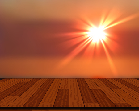 Wood decking into the sea at Sunset. Vector illustration.