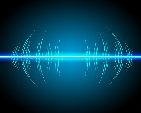 sonic: Sound waves oscillating glow, neon light. Abstract technology background, music background, vector illustration Illustration